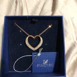 Swarovski Crystal Open Heart Rose Gold Necklace